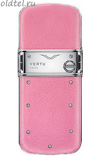 Vertu Constellation Polished Stainless Steel Pink Leather